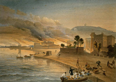 Harbour Drawing - Burning Of The Government Buildings by William 'Crimea' Simpson