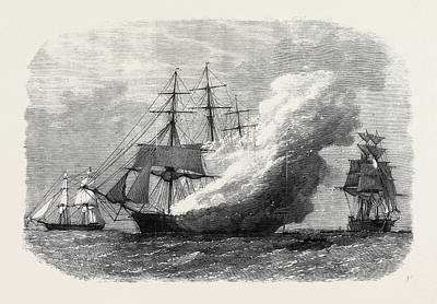 Burning Of The Omar Pacha Australian Ship Homeward Bound Art Print by Australian School