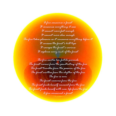Photograph - Burning Orb With Poem by Brent Dolliver
