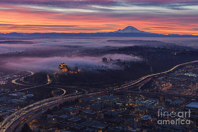 Burning Seattle Sunrise Art Print