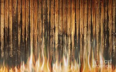Burning Wooden Wall Original by Jolanta Meskauskiene