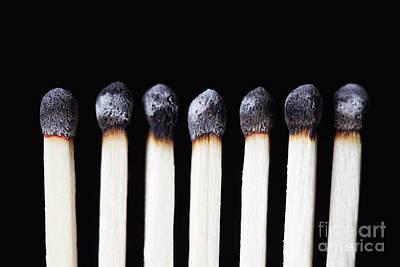 Burnt Matches On Black Art Print