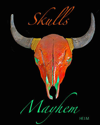 Mixed Media - Burnt Orange Illuminating Buffalo Skull by Mayhem Mediums