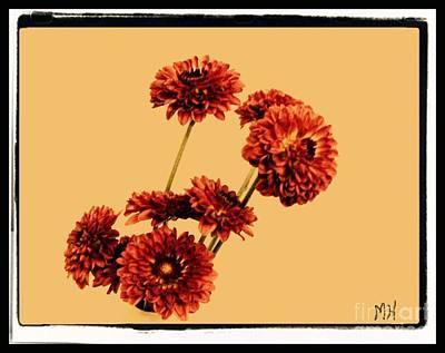 Burnt Digital Art - Burnt Orange Zennias On Yellow Gold by Marsha Heiken