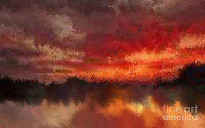 Burnt Sunset Art Print by Holley Jacobs