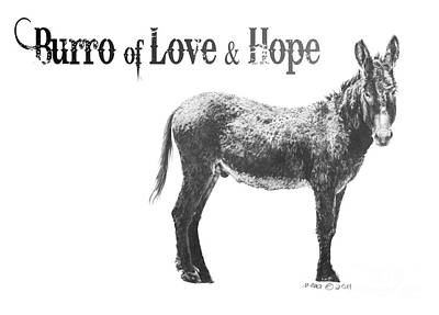 Digital Art - Burro Of Love And Hope by Marianne NANA Betts