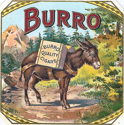 Burro Quality Of Cigars Label Art Print by Label Art