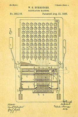 1888 Photograph - Burroughs Calculating Machine Patent Art 1888 by Ian Monk