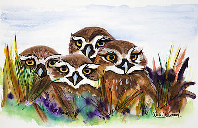 Painting - Burrowing Owls by Dale Bernard