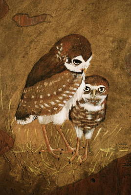 Painting - Burrowing Owls by Richard Hinger