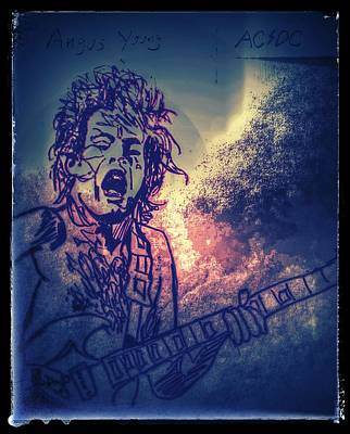Drawing - Burst Of Angus Young by Edward Pebworth