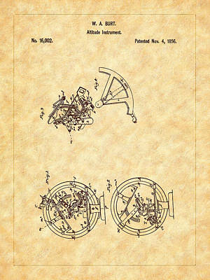 Photograph - Burt 1856 Sextant Patent Art by Barry Jones