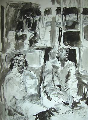 Introspection Painting - Bus At Night Panel 1 by Esther Newman-Cohen