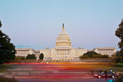 Bus Blur And U.s.capitol Building Art Print by Richard Nowitz
