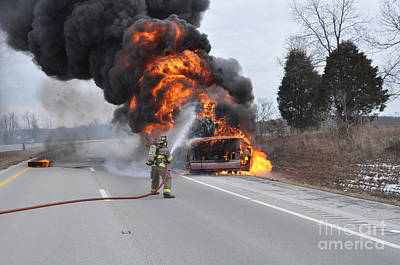 Photograph - Bus Fire by Steven Townsend