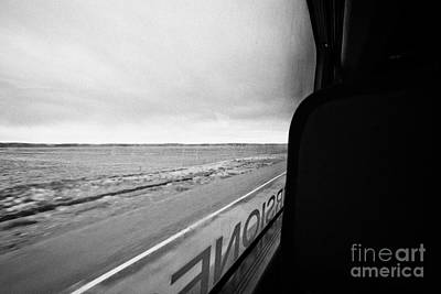 bus ride through flat lands of Tierra Del Fuego island Chile between punta arenas and ushuaia Art Print