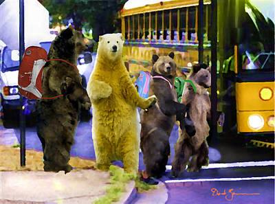 Digital Manipulation Painting - Bus Stop Bears by David Zimmerman