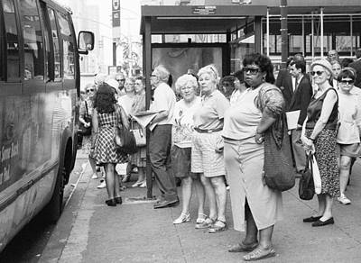 Photograph - Bus Stop Summer Nyc by Dave Beckerman