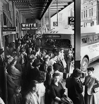 Greyhound Photograph - Bus Terminal, 1943 by Granger