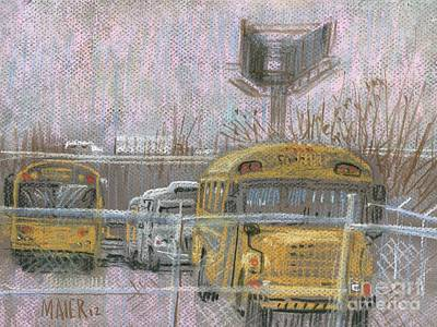 School Bus Painting - Bus Trucks And Billboards by Donald Maier
