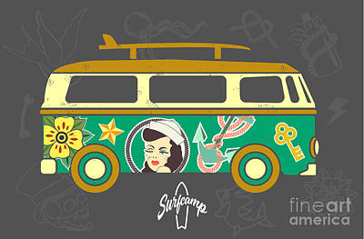 Equipment Wall Art - Digital Art - Bus With Surfboard by Naches