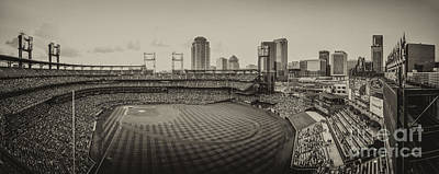 Photograph - Busch Stadium Cardinals Sepia by David Haskett II