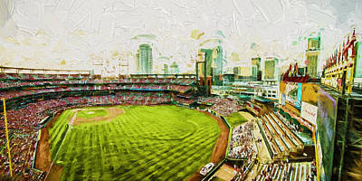 Photograph - Busch Stadium St. Louis Cardinals Paint Top View by David Haskett II
