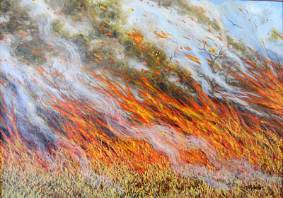 Raging Photograph - Bushfire Inferno, 2014, Oil On Canvas by Tilly Willis