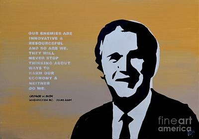 George Bush Painting - Bushism 01 by Alfie Borg