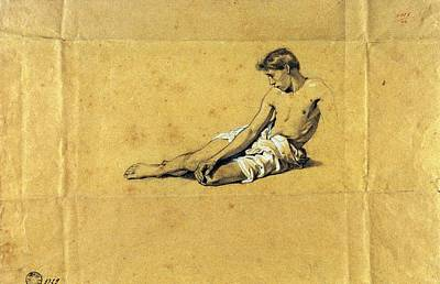 On Paper Photograph - Busi Luigi, Study Of A Half-naked Man by Everett