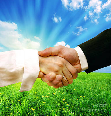 Professional Photograph - Business Handshake On Nature Background by Michal Bednarek