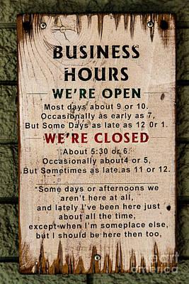 Business Hours Art Print by Jon Burch Photography