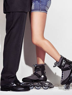 Business Man And Young Woman In Skates Print by Oleksiy Maksymenko