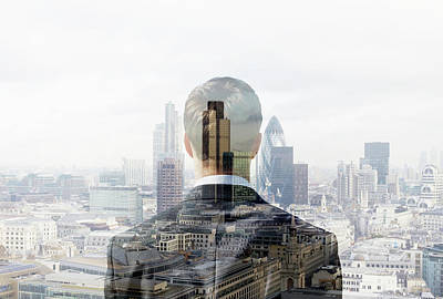 Business Man Looking Towards The City Art Print by Tim Robberts