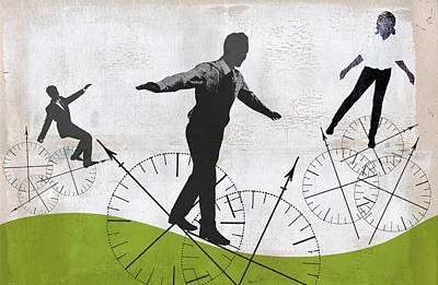 Photograph - Business People Balancing On Compass by Ikon Images