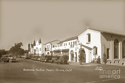 Photograph - Business Section Lighthouse Ave. Pacific Grove California Circa 1930 by California Views Archives Mr Pat Hathaway Archives