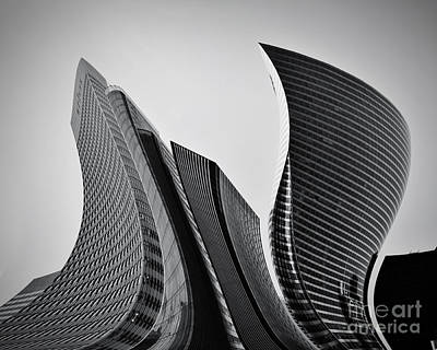 Business Skyscrapers Abstract Conceptual Architecture Art Print by Michal Bednarek