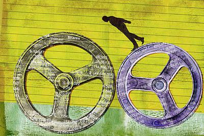 Accountancy Wall Art - Photograph - Businessman Balancing On Finance Cog by Ikon Images