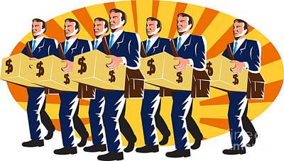 Businessman Banker Worker Carry Money Box Retro Art Print by Aloysius Patrimonio