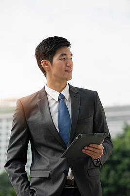 Businessman Holding Digital Tablet Art Print by Eternity In An Instant