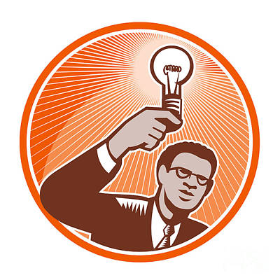 Businessman Holding Lightbulb Woodcut Print by Aloysius Patrimonio