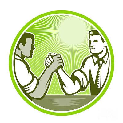 Businessman Digital Art - Businessman Office Worker Arm Wrestling by Aloysius Patrimonio