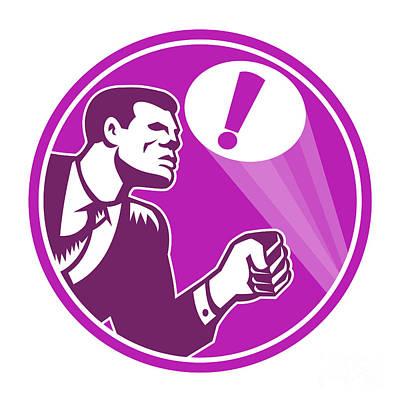 Businessman Digital Art - Businessman Responding Emergency Signal Retro by Aloysius Patrimonio