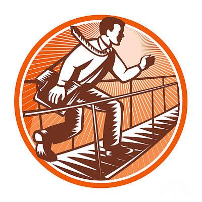 Businessman Satchel Bag Running Bridge Art Print by Aloysius Patrimonio
