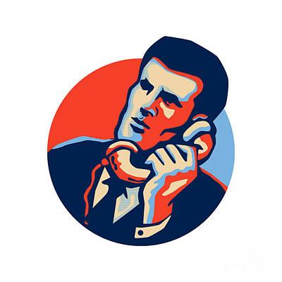 Businessman Digital Art - Businessman Talk Telephone Retro by Aloysius Patrimonio
