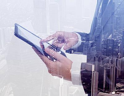 Businessman Using Tablet Pc & Double Art Print by Hocus-focus