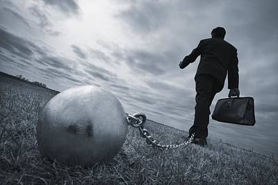 Businessman With Ball And Chain Print by Don Hammond