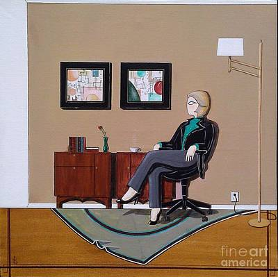 Businesswoman Sitting In Chair Art Print by John Lyes