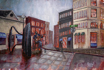 Asheville Artist Painting - Busker At Flat Iron Downtown Asheville by Gray  Artus
