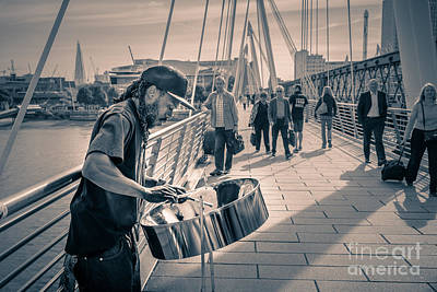 Busker Playing Steel Band Drum Steelpan In London Print by Peter Noyce